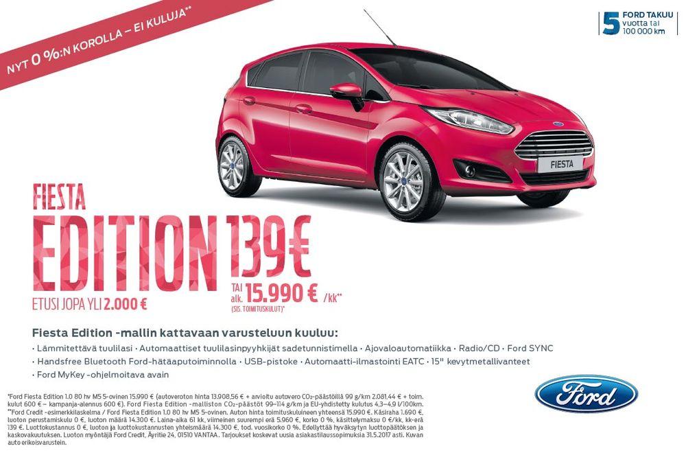 Täydellisesti varusteltu Ford Fiesta Edition