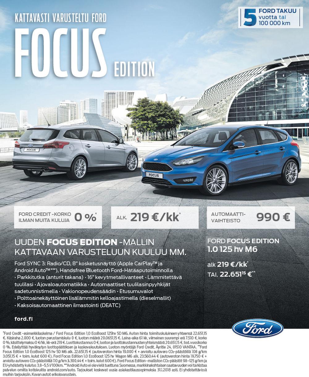 Kattavasti varusteltu Ford Focus Edition